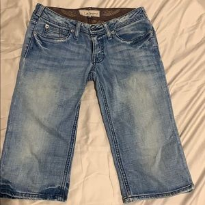Denim - J & Company Long Denim Shorts with Rhinestones